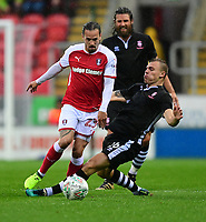 Rotherham United's Ryan Williams vies for possession with Lincoln City's Harry Anderson<br /> <br /> Photographer Chris Vaughan/CameraSport<br /> <br /> The Carabao Cup First Round - Rotherham United v Lincoln City - Tuesday 8th August 2017 - New York Stadium - Rotherham<br />  <br /> World Copyright &copy; 2017 CameraSport. All rights reserved. 43 Linden Ave. Countesthorpe. Leicester. England. LE8 5PG - Tel: +44 (0) 116 277 4147 - admin@camerasport.com - www.camerasport.com