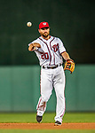 15 August 2017: Washington Nationals second baseman Daniel Murphy gets the first out in the 6th inning against the Los Angeles Angels at Nationals Park in Washington, DC. The Nationals defeated the Angels 3-1 in the first game of their 2-game series. Mandatory Credit: Ed Wolfstein Photo *** RAW (NEF) Image File Available ***