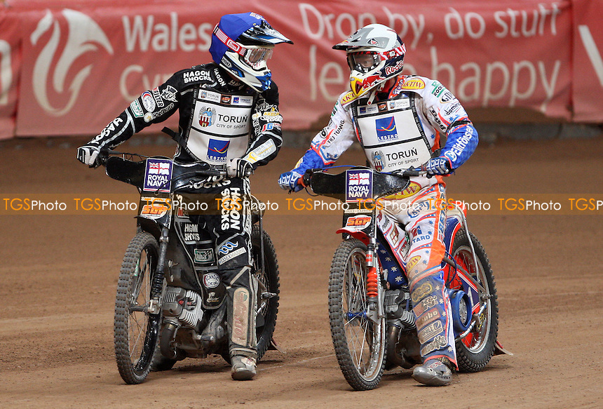 The Final: Chris Holder (blue) is congratulated by Jason Crump (white) - British Speedway Grand Prix at the Millennium Stadium, Cardiff - 10/07/10 - MANDATORY CREDIT: Rob Newell/TGSPHOTO - Self billing applies where appropriate - 0845 094 6026 - contact@tgsphoto.co.uk - NO UNPAID USE.