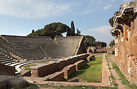 Cavea, orchestra and proscenium of the 1st century BC theatre of Ostia Antica, Italy. Picture by Manuel Cohen