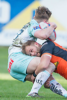 Picture by Allan McKenzie/SWpix.com - 11/02/2018 - Rugby League - Betfred Super League - Castleford Tigers v Widnes Vikings - the Mend A Hose Jungle, Castleford, England - Paul McShane tackles Olly Ashall-Bott.