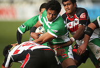 Manawatu's Lisiate Fa'aoso on attack during the Air NZ Cup rugby match between Manawatu Turbos and Counties-Manukau Steelers at FMG Stadium, Palmerston North, New Zealand on Sunday, 2 August 2009. Photo: Dave Lintott / lintottphoto.co.nz