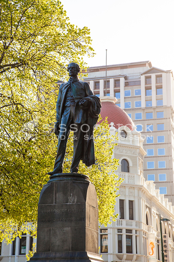 Godley Statue, Cathedral Square, Christchurch, (pre February 2011 earthquake) New Zealand - stock photo, canvas, fine art print