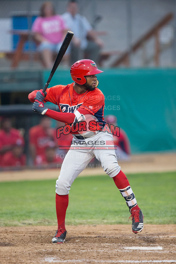 Jordon Adell (13) of the Orem Owlz at bat against the Helena Brewers at Kindrick Legion Field on August 17, 2017 in Helena, Montana.  The Owlz defeated the Brewers 5-2.  (Brian Westerholt/Four Seam Images)