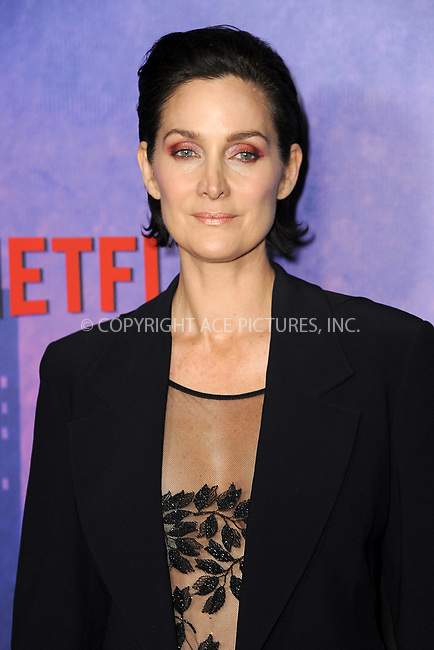 www.acepixs.com<br /> March 7, 2018  New York City<br /> <br /> Carrie Anne Moss attending attending Marvel's 'Jessica Jones' season 2 TV show premiere on March 7, 2018 in New York City.<br /> <br /> Credit: Kristin Callahan/ACE Pictures<br /> <br /> <br /> Tel: 646 769 0430<br /> Email: info@acepixs.com