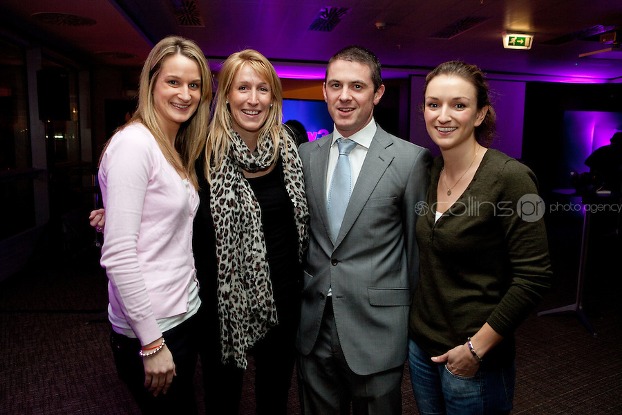 3/3/2011. TV3 SPRING SCHEDULE LAUNCH. Pictured at the Aviva Stadium for the launch of the TV3 spring schedule are Sarah Murphy from Carat, Suzanne Mellon, Darragh Byrne TV3 and Kathryn Wilson.Picture James Horan/Collins Photos