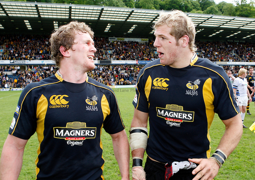 Photo: Richard Lane/Richard Lane Photography. .London Wasps v Bath Rugby. Guinness Premiership. 18/05/2008. Wasps' Tom Rees and James Haskell celebrate victory.