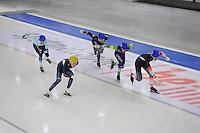 SCHAATSEN: BERLIJN: Sportforum Berlin, 07-12-2014, ISU World Cup, Mass Start Men, Seung-Hoon Lee (KOR | #1), Arjan Stroetinga (NED | #25), Alexis Contin (FRA | #22), ©foto Martin de Jong