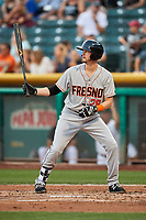 Reid Brignac (28) of the Fresno Grizzlies bats against the Salt Lake Bees at Smith's Ballpark on September 3, 2017 in Salt Lake City, Utah. The Bees defeated the Grizzlies 10-8. (Stephen Smith/Four Seam Images)