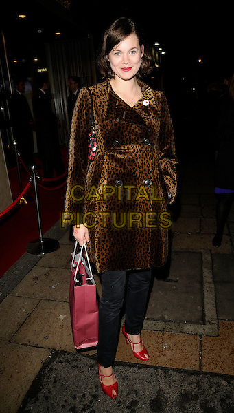 JASMINE GUINNESS .The Victorinox European Flagship Store Launch, New Bond Street, London, England, November 6th 2008..full length brown leopard print coat belted red shoes bag peep toe black trousers  .CAP/CAN.©Can Nguyen/Capital Pictures