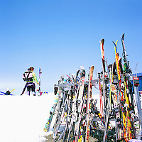 Downhill Skis leaning against Ski Racks at Horstman Glacier on Blackcomb Mountain, Whistler Ski Resort, BC, British Columbia, Canada