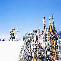 Downhill Skis leaning against Ski Racks at Horstman Glacier on Blackcomb Mountain, Whistler Ski Resort, BC, British Columbia, Canada