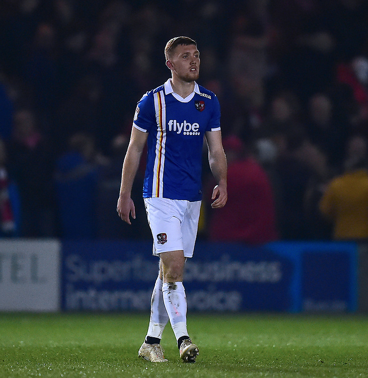 Exeter City's Dara O'Shea<br /> <br /> Photographer Andrew Vaughan/CameraSport<br /> <br /> The EFL Sky Bet League Two - Lincoln City v Exeter City - Tuesday 26th February 2019 - Sincil Bank - Lincoln<br /> <br /> World Copyright © 2019 CameraSport. All rights reserved. 43 Linden Ave. Countesthorpe. Leicester. England. LE8 5PG - Tel: +44 (0) 116 277 4147 - admin@camerasport.com - www.camerasport.com