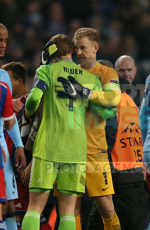 Manuel Neuer of Bayern Munich and Joe Hart of Manchester City hug - UEFA Champions League group E - Manchester City vs Bayern Munich - Etihad Stadium - Manchester - England - 25rd November 2014  - Picture Simon Bellis/Sportimage