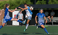 Allston, MA - Saturday August 19, 2017: Julie King, Alex Morgan, Rosie White during a regular season National Women's Soccer League (NWSL) match between the Boston Breakers (blue) and the Orlando Pride (white/light blue) at Jordan Field.Goal.