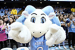 CHAPEL HILL, NC - FEBRUARY 12: RJ, or Rameses Junior, a UNC mascot. The University of North Carolina Tar Heels hosted the University of Notre Dame Fighting Irish on February 12, 2018 at Dean E. Smith Center in Chapel Hill, NC in a Division I men's college basketball game. UNC won the game 83-66.