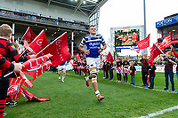 Zach Mercer and the rest of the Bath Rugby team run onto the field for the start of the match. Gallagher Premiership match, between Gloucester Rugby and Bath Rugby on April 13, 2019 at Kingsholm Stadium in Gloucester, England. Photo by: Patrick Khachfe / Onside Images