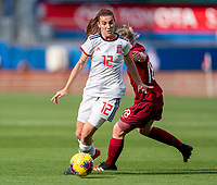 FRISCO, TX - MARCH 11: Patricia Guijarro #17 of Spain moves past Ellen White #18 of England during a game between England and Spain at Toyota Stadium on March 11, 2020 in Frisco, Texas.