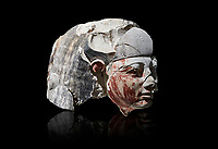 Ancient Egyptian statue head of a monarch, limestone, Middle Kingdom, mis 12th Dynasty, (1900-1850 BC), Qqw el-Kebir, tomb of Ibu. Egyptian Museum, Turin.  black background,<br /> <br /> Since this statue head comes from the tomb of Ibu it is likely that they depict a powerful gosvenor, although the incsription is lost. It can be dated by its style which is close to the statues of Amenemhat II and Sesostris II. Schiaparelli excavations. Cat 4410 & 4414