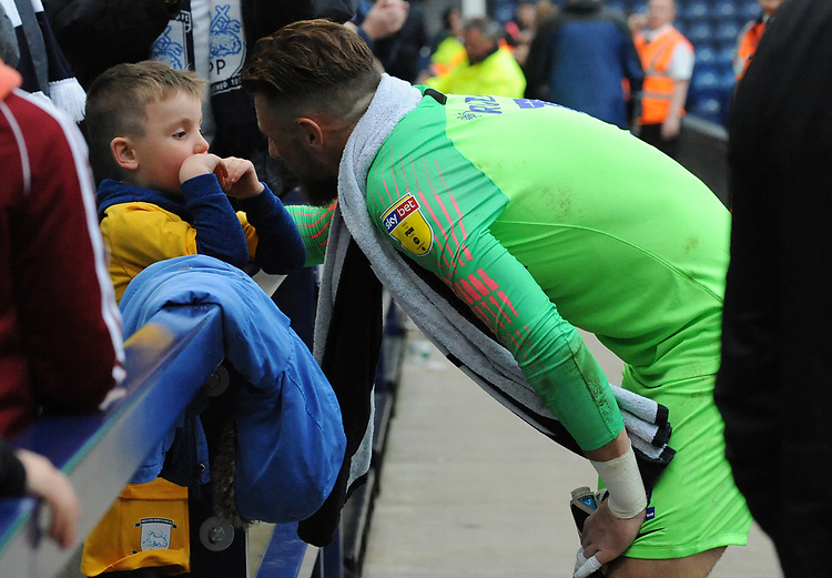 Preston North End's Declan Rudd chats with a young fan after the final whistle<br /> <br /> Photographer Kevin Barnes/CameraSport<br /> <br /> The EFL Sky Bet Championship - Preston North End v Barnsley - Saturday 5th October 2019 - Deepdale Stadium - Preston<br /> <br /> World Copyright © 2019 CameraSport. All rights reserved. 43 Linden Ave. Countesthorpe. Leicester. England. LE8 5PG - Tel: +44 (0) 116 277 4147 - admin@camerasport.com - www.camerasport.com