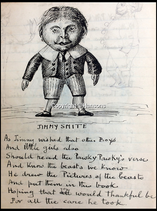 BNPS.co.uk (01202)558833Pic:  Hansons/BNPS<br /> <br /> The illustrator 'Jimmy Smite'<br /> <br /> Old Edwardian exercise book sells for £2000 - because of its fantastical drawings.<br /> <br /> An unique and extraordinary hand drawn book of fantastical beasts has sold for£2000 - with specialists claiming the sketches would not look out of place in a Harry Potter novel.<br /> <br /> The Edwardian 'Pawky Pawk's Book of Beasts' dates back to 1905 and features 32 weird and wonderful creatures all accompanied by a brief satirical description.<br /> <br /> The spooky pictures were drawn by a mystery illustrator named 'Jimmy Smite', who also depicted himself in the beautifully drawn exercise book.