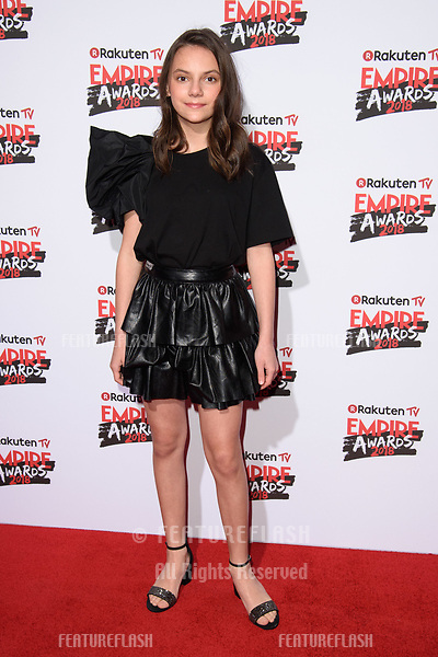 Dafne Keen arriving for the Empire Awards 2018 at the Roundhouse, Camden, London, UK. <br /> 18 March  2018<br /> Picture: Steve Vas/Featureflash/SilverHub 0208 004 5359 sales@silverhubmedia.com