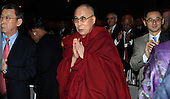 The Dalai Lama attends the National Prayer Breakfast at the Washington Hilton Hotel in Washington, D.C. on February 5, 2015.  U.S. and international leaders from different parties and religions gather annually at this event for an hour devoted to faith and prayer.<br /> Credit: Dennis Brack / Pool via CNP