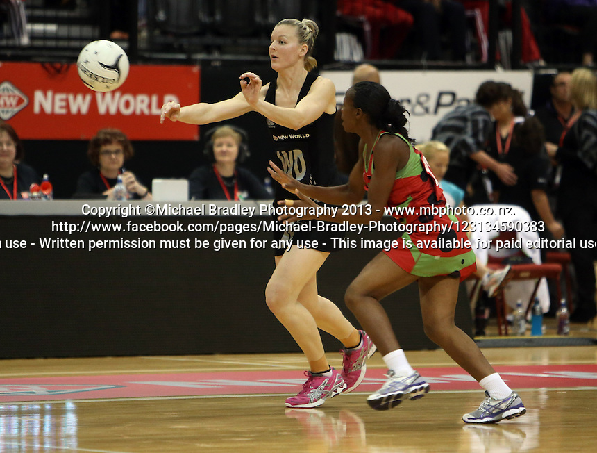 24.10.2013 Silver Fern Katrina Grant in action during the Silver Ferns V Malawi New World Netball Series played at the TSB Bank Arena in Wellington. Mandatory Photo Credit ©Michael Bradley.