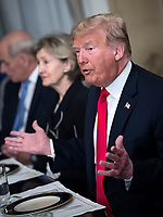 11 July 2018, Brussels, Belgium: Donald Trump, President of the United States, speaks at NATO's summit meeting with NATO Secretary General Stoltenberg at the Brussels residence of the American ambassador. Sitting next to him is Kay Bailey Hutchison, United States Ambassador to NATO. From July 11, 2018 until July 12, 2018 Government Heads of the 29 NATO member states and European Union representatives, will participate in the Summit of the North Atlantic Treaty Organization. Photo: Bernd von Jutrczenka/dpa /MediaPunch ***FOR USA ONLY***
