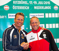 Austria, Kitzbuhel, Juli 16, 2015, Tennis, Davis Cup, Draw, Team captains Jan Siemerink (L) (NED) and Stefan Koubek (AUT)<br /> Photo: Tennisimages/Henk Koster