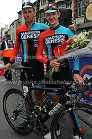 """Race winner Tom Stewart (L) and 2nd place Erick Rowsell of the racing cycling team Madison Genesis after the Abergavenny Festival of Cycling """"Grand Prix of Wales"""" race on Sunday 17th 2016<br /> <br /> <br /> Jeff Thomas Photography -  www.jaypics.photoshelter.com - <br /> e-mail swansea1001@hotmail.co.uk -<br /> Mob: 07837 386244 -"""