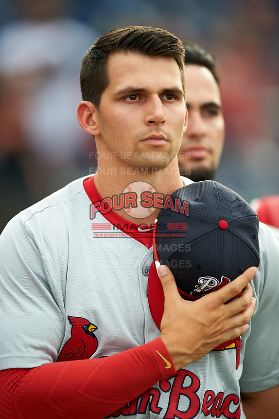 Palm Beach Cardinals center fielder Thomas Spitz (8) stands for the national anthem during a game against the Clearwater Threshers on April 15, 2017 at Spectrum Field in Clearwater, Florida.  Clearwater defeated Palm Beach 2-1.  (Mike Janes/Four Seam Images)