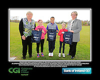Helens Bay GC team with Bank of Ireland Officials Angela Callan and Heather Raney with Junior golfers from across Ulster practicing their skills at the regional finals of the Dubai Duty Free Irish Open Skills Challenge at The CAFRE Greenmount Campus in Antrim. 2/04/2016.<br /> Picture: Golffile | Fran Caffrey<br /> <br /> <br /> All photo usage must carry mandatory copyright credit (© Golffile | Fran Caffrey)