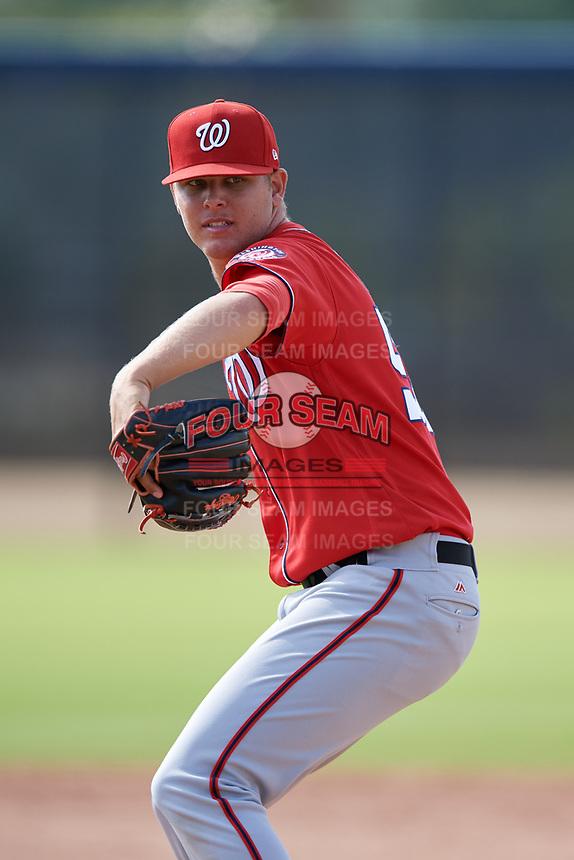 Washington Nationals pitcher Weston Davis (56) doing pitching drills before a Minor League Spring Training game against the Miami Marlins on March 28, 2018 at FITTEAM Ballpark of the Palm Beaches in West Palm Beach, Florida.  (Mike Janes/Four Seam Images)