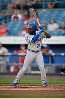 Buffalo Bisons left fielder Dwight Smith Jr. (21) at bat during a game against the Syracuse Chiefs on September 2, 2018 at NBT Bank Stadium in Syracuse, New York.  Syracuse defeated Buffalo 4-3.  (Mike Janes/Four Seam Images)