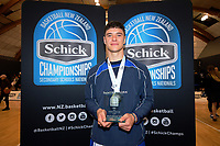 2019 Schick AA Boys' Secondary Schools Basketball National Championship MVP Shalom Broughton at the Central Energy Trust Arena in Palmerston North, New Zealand on Saturday, 5 October 2019. Photo: Dave Lintott / lintottphoto.co.nz