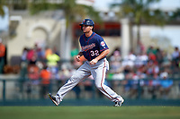 Minnesota Twins pinch runner Buck Britton (32) leads off second base during a Spring Training game against the Baltimore Orioles on March 7, 2016 at Ed Smith Stadium in Sarasota, Florida.  Minnesota defeated Baltimore 3-0.  (Mike Janes/Four Seam Images)