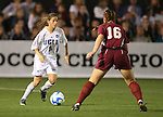 07 December 2007: UCLA's Christina DiMartino (5) and USC's Ashley Nick (16). The University of Southern California Trojans defeated the University of California Los Angeles Bruins 2-1 at the Aggie Soccer Stadium in College Station, Texas in a NCAA Division I Womens College Cup semifinal game.