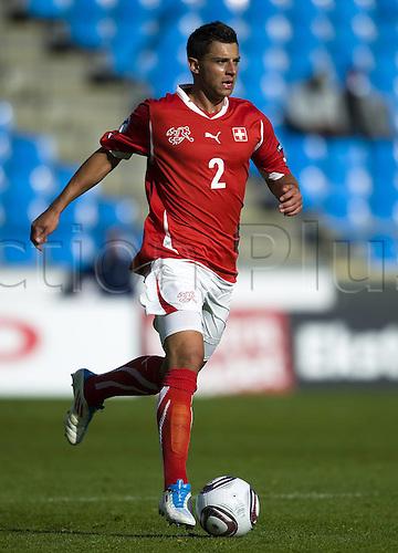 14.06.2011. Denmark.  2011 UEFA U21 Championship. Switzerland versus Iceland.  Philippe Cook Switzerland on the ball.