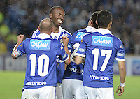 BOGOTÁ -COLOMBIA, 15-06-2013. Jugadores de Millonarios celebran un gol en contra de Once Caldas durante partido de los cuadrangulares finales F1 de la Liga Postobón 2013-1 jugado en el estadio el Campín de la ciudad de Bogotá./ Millonarios' players celebrate a goal against Once Caldas during match of the final quadrangular 1th date of Postobon  League 2013-1 at El Campin stadium in Bogotá city. Photo: VizzorImage/STR