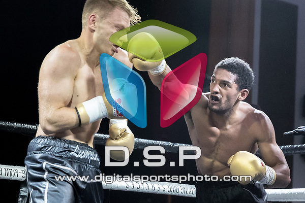 Ashley Cooke vs Kyle Paevie EBA Light Middleweight Title Contest During EBA Boxing: Prizefighter. Photo by: Simon Downing.<br /> <br /> Saturday July 29th 2017 - Grays Civic Hall, Grays, Essex, United Kingdom.