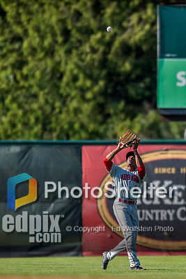 16 July 2017: Auburn Doubledays outfielder Armond Upshaw in action against the Vermont Lake Monsters at Centennial Field in Burlington, Vermont. The Monsters defeated the Doubledays 6-3 in NY Penn League action. Mandatory Credit: Ed Wolfstein Photo *** RAW (NEF) Image File Available ***