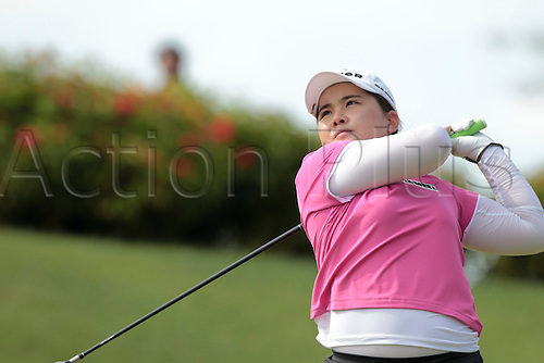 24.02.2011 Park Inbee(KOR) tees off from hole 5 during round 1 of the 2011 HSBC Women's Champions, Tanah Merah Country Club, Singapore.