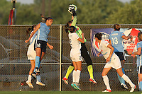 Piscataway, NJ - Saturday June 11, 2016: Nicole Barnhart, Kim DeCesare, Shea Groom during a regular season National Women's Soccer League (NWSL) match between Sky Blue FC and FC Kansas City at Yurcak Field.