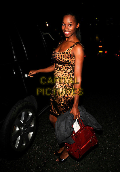 JAMELIA.The Julien McDonald LFW catwalk show, Hilton Park Lane hotel, London, England..February 15th, 2008.fashion week full length leopard print dress .CAP/CAN.©Can Nguyen/Capital Pictures.