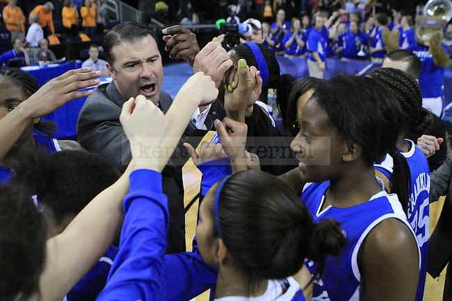 The UK women's basketball team meets after their 70-62 loss against Tennessee for the SEC tournament at the Gwinnett Center on Sunday, March 7, 2010. Photo by Adam Wolffbrandt | Staff
