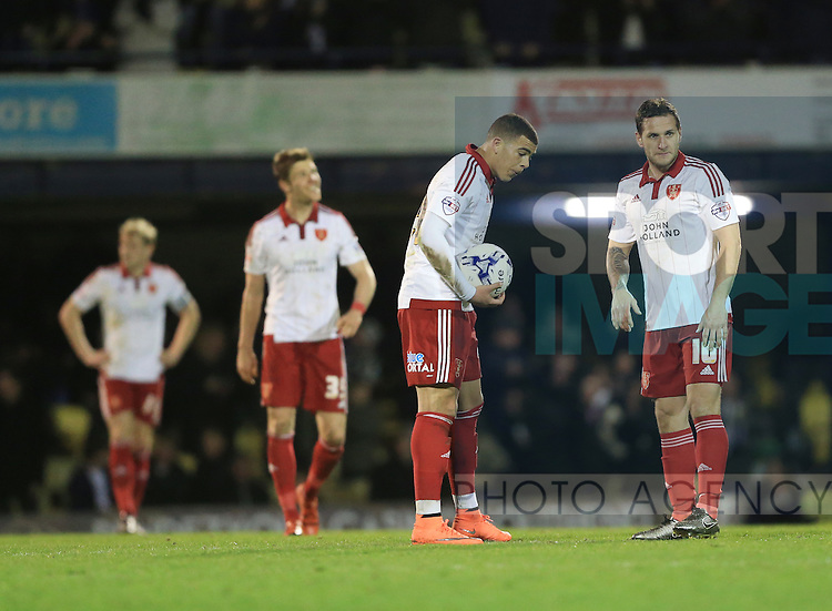 Sheffield United's Billy Sharp looks on dejected after going 2-1 down during the League One match at Roots Hall Stadium.  Photo credit should read: David Klein/Sportimage