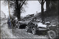 BNPS.co.uk (01202 558833)<br /> Pic: Bellmans/BNPS<br /> <br /> Break for rations in Germany 1945 - Behind enemy lines the heavily armed jeeps gave them great manouverabilty and suprise.<br /> <br /> A fascinating trove of SAS records including some of the first photographs of the elite force which have never been seen before has been unearthed. <br /> <br /> The extensive assortment, also including medals and documents, was accumulated by war hero Lance Corporal William James Cooke at the end of World War Two. <br /> <br /> Remarkable images of Cooke's previously unrevealed wartime exploits show him serving behind enemy lines in occupied France and assisting with the liberation of Norway. <br /> <br /> His accomplishments have come to light after a family member presented the bequeathed collection to Hampshire-based auctioneer Bellmans, which will sell it tomorrow.
