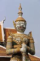 Thaïlande/Bangkok: Temple de Wat Arun - Détail garde chinois