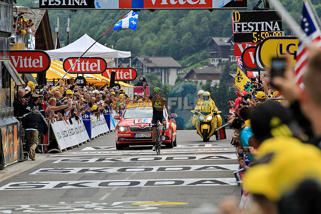 Rui Alberto Costa (POR) Movistar Team wins Stage 19 of the 100th Edition of the 2013 Tour de France from Bourg-d'Oisans to Le Grand-Bornand. 19th July 2013.<br /> (Photo:Thomas van Bracht / Peloton Photos/www.newsfile.ie)